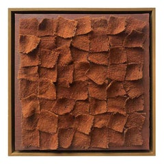 Zellige I, Textile Brown Wall Piece, Unique Piece, Made of Wool and Natural Dyes