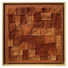 Zellige II, Patchwork Textile Brown and Orange Wall Piece, Unique Piece