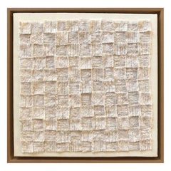 Zellige III, Textile White Wall Piece, Unique Piece, Made of Wool