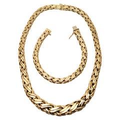 Zelman & Friedman Woven Wheat Braided 14 Karat Yellow Gold Necklace Bracelet Set