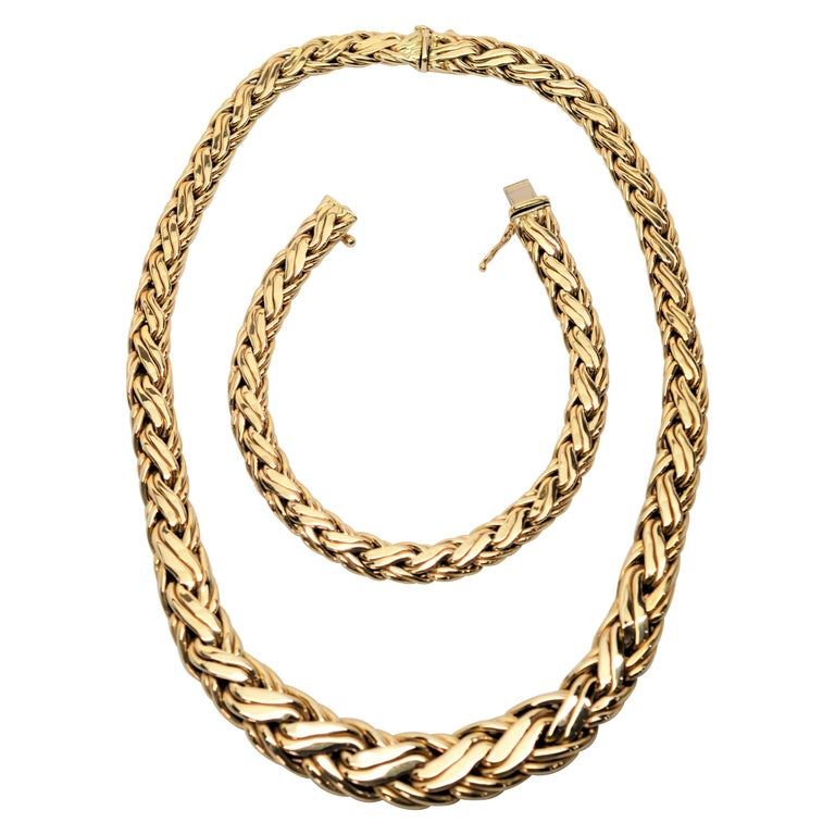Zelman & Friedman Woven Wheat Braided 14 Karat Yellow Gold Necklace Bracelet Set For Sale