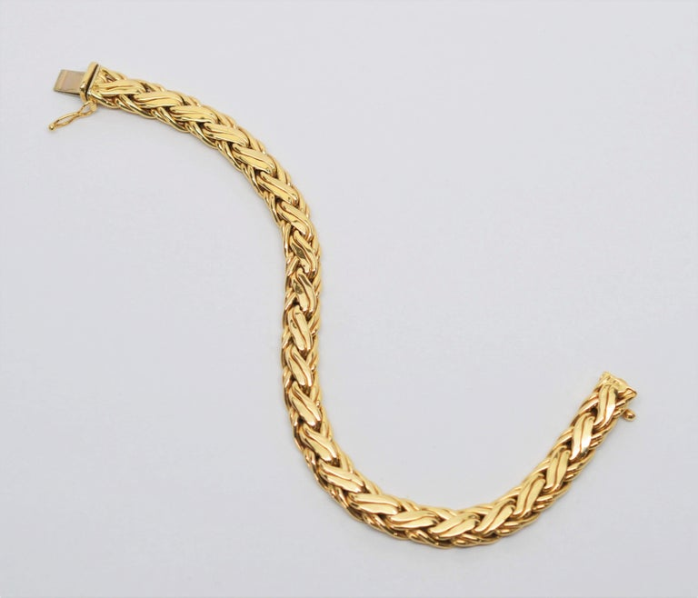 Women's Zelman & Friedman Woven Wheat Braided 14 Karat Yellow Gold Necklace Bracelet Set For Sale