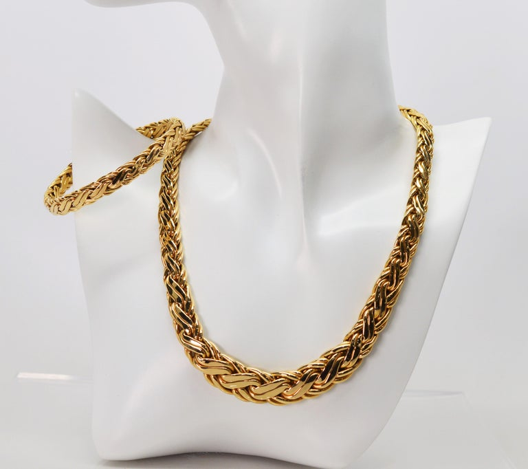 Zelman & Friedman Woven Wheat Braided 14 Karat Yellow Gold Necklace Bracelet Set For Sale 2
