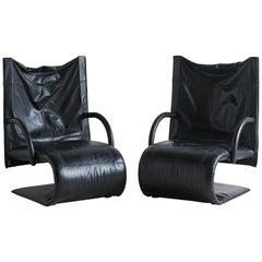 """Zen"" Black Leather Chairs by Claude Brisson for Lignet Roset, Pair"