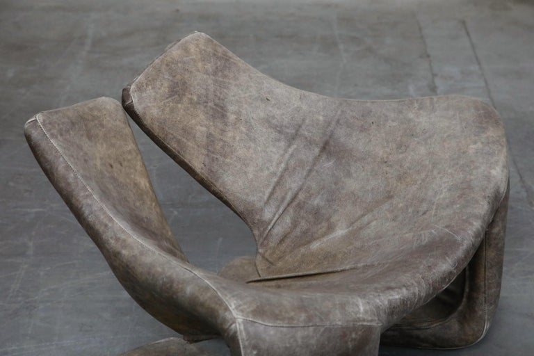 'Zen' Leather Lounge Chair by Kwok Hoi Chan for Steiner, Paris France, 1970s For Sale 7