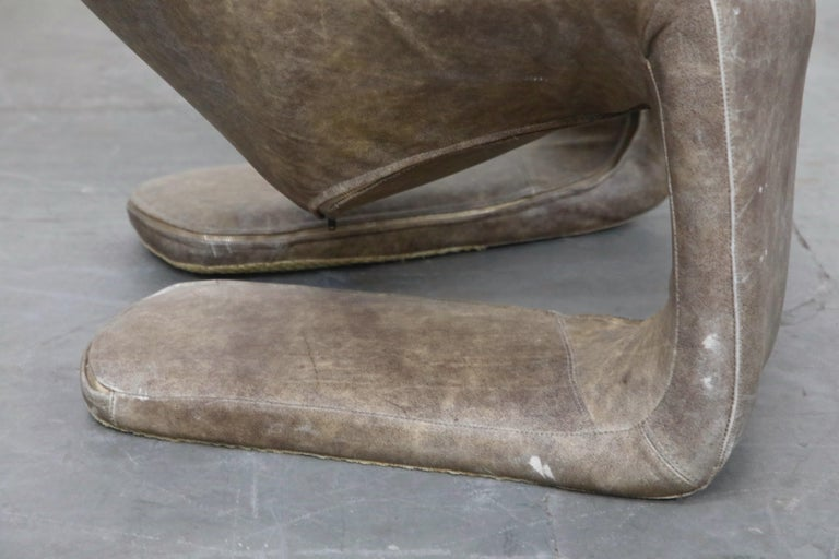 'Zen' Leather Lounge Chair by Kwok Hoi Chan for Steiner, Paris France, 1970s For Sale 8