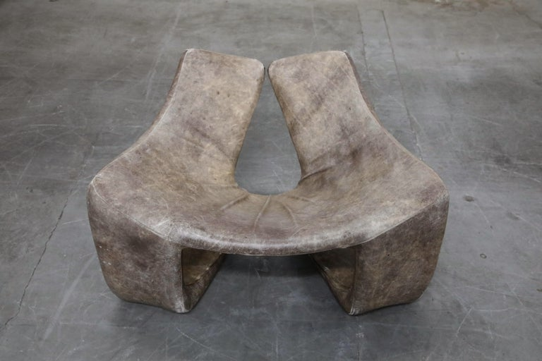 French 'Zen' Leather Lounge Chair by Kwok Hoi Chan for Steiner, Paris France, 1970s For Sale