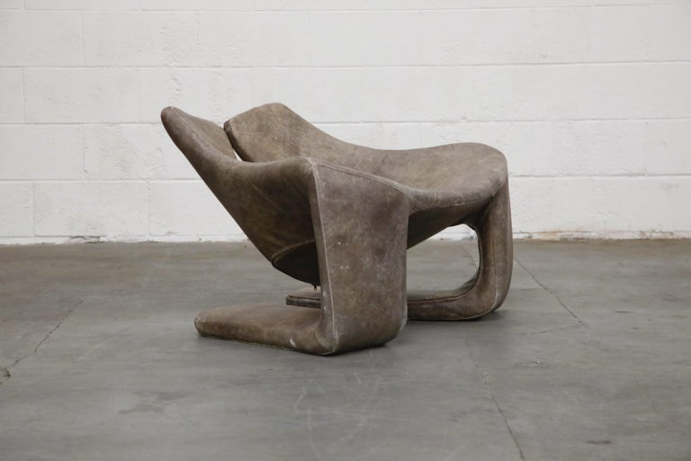 'Zen' Leather Lounge Chair by Kwok Hoi Chan for Steiner, Paris France, 1970s In Good Condition For Sale In Los Angeles, CA