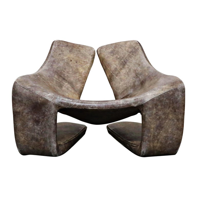 'Zen' Leather Lounge Chair by Kwok Hoi Chan for Steiner, Paris France, 1970s For Sale