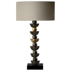 'Zen' Table Lamp, European, Slate, Bronze Resin, 24k Gold Leaf by Margit Wittig