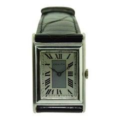 Zenith 18 Karat White Gold Art Deco Tank Style Watch, circa 1930s