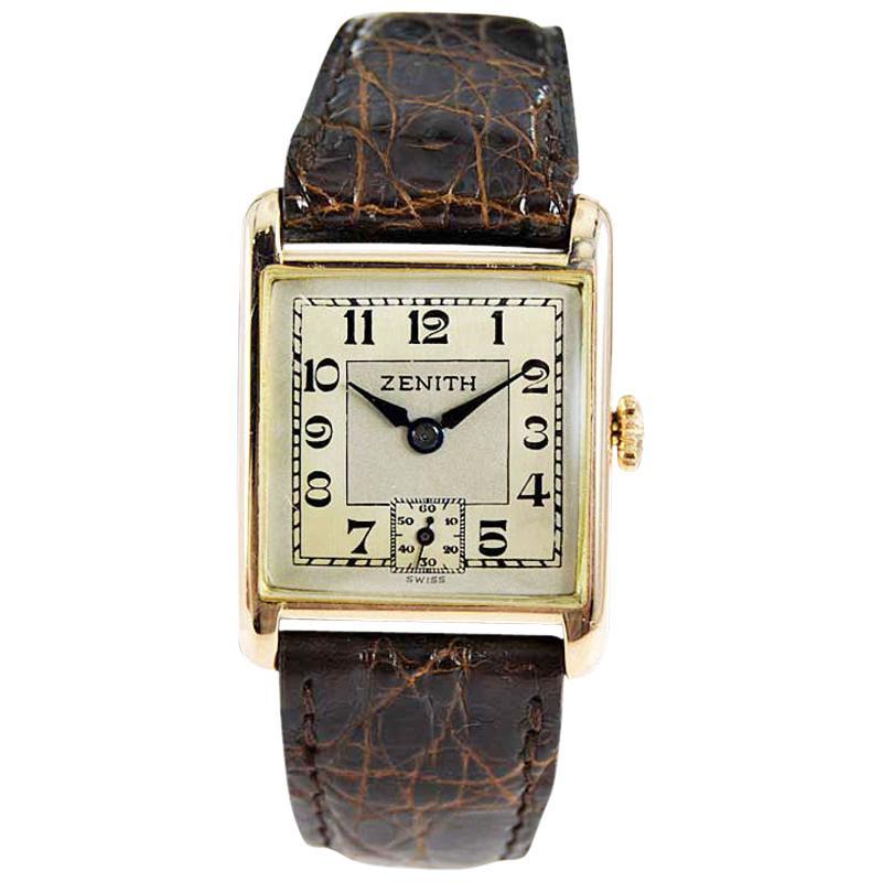 Zenith 9 Karat English Market Art Deco Watch, circa 1920s