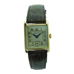 Zenith 9 Karat English Market Art Deco Watch, circa 1920s