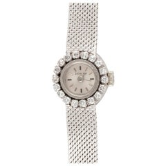 Zenith, a Ladies 18 Carat White Gold and Diamond Set Manual Wind Bracelet Watch