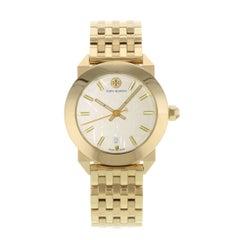 Tory Burch Whitney Yellow Gold Tone Cream Dial Steel Quartz Ladies Watch TRB8002