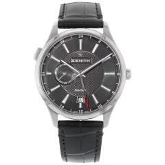 Zenith Captain Dual Time Black Steel Automatic Men's Watch 03.2130.682/22.C493