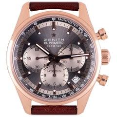 Zenith El Primero Chronograph Gents 18 Karat Rose Gold Grey Dial 18.2150.400