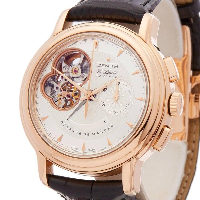 Zenith El Primero Chronomaster Chronograph 18 Karat Rose Gold Men's In Excellent Condition In Bishop's Stortford, Hertfordshire