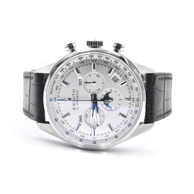 Zenith El Primero Stainless Steel 410 Chronograph Watch Ref. 03.2091.410 In Excellent Condition For Sale In Scottsdale, AZ
