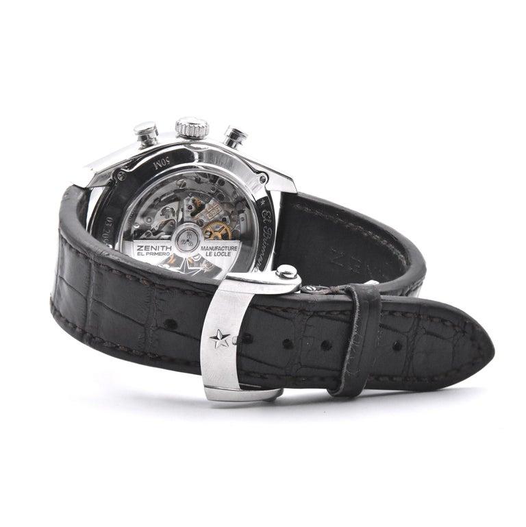 Women's or Men's Zenith El Primero Stainless Steel 410 Chronograph Watch Ref. 03.2091.410 For Sale
