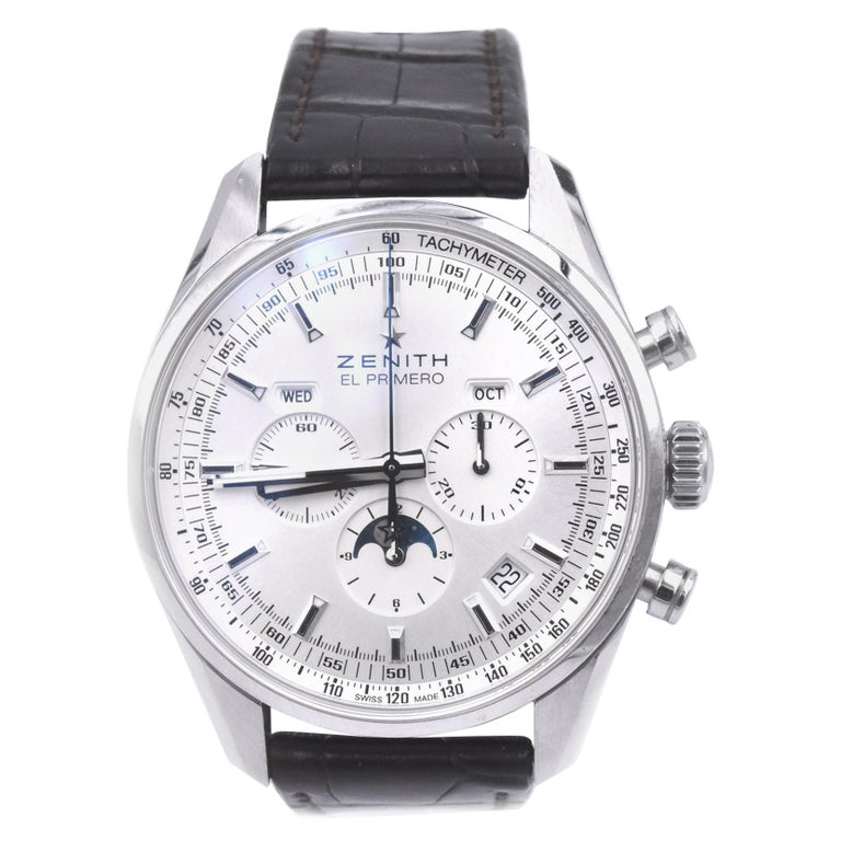 Zenith El Primero Stainless Steel 410 Chronograph Watch Ref. 03.2091.410 For Sale