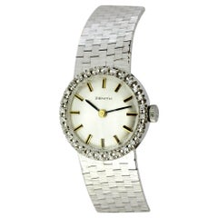 Zenith Ladies 18 Karat White Gold and Diamonds Manual Winding Wristwatch, 1960s