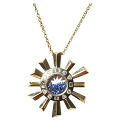 Sapphire Necklace Long Chain Surmounted by a Yellow Gold Pendant in Sun Shape