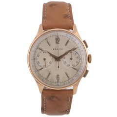 Zenith Rose Gold Vintage Chronograph Manual Wind Wristwatch