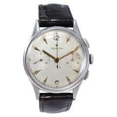 Zenith Stainless Steel Chronograph Original Dial Manual Wristwatch, circa 1940s