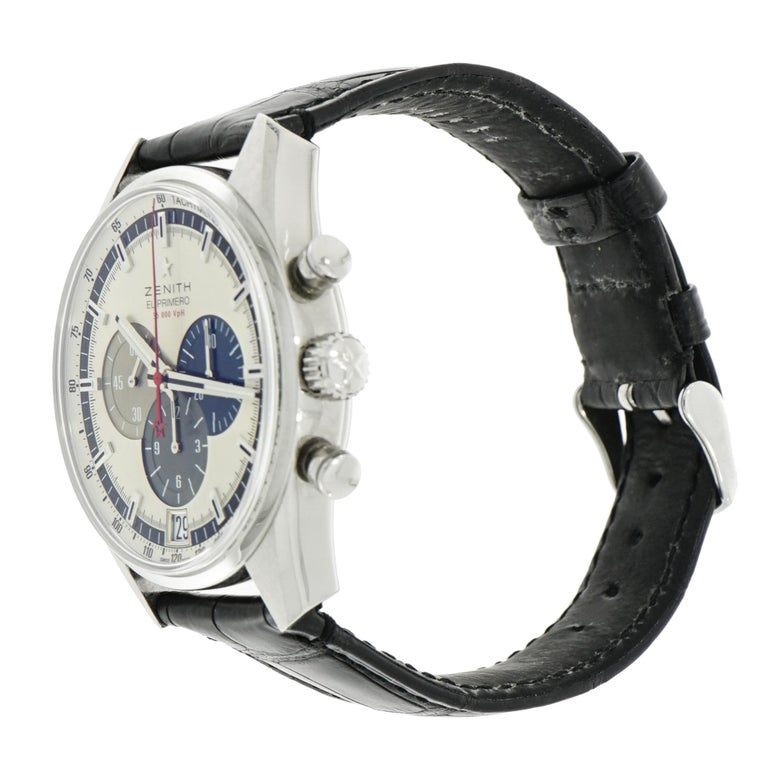 Zenith Stainless Steel El Primero self-winding Wristwatch   In Excellent Condition For Sale In Greenwich, CT