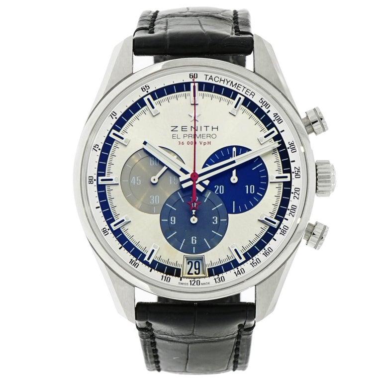 Zenith Stainless Steel El Primero self-winding Wristwatch   For Sale