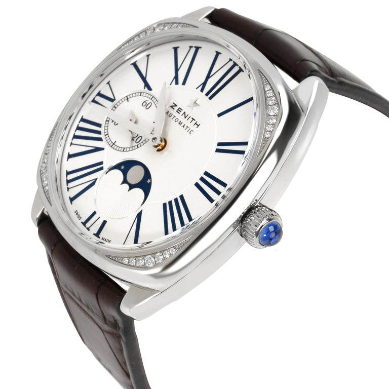 Zenith Star Moonphase 16.1925.692 Unisex Watch in Stainless Steel In Excellent Condition For Sale In New York, NY