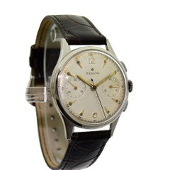 Zenith Stainless Steel Chronograph original dial Manual Wristwatch, circa 1940s