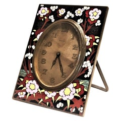 Zenith Watch Co., Swiss Art Deco Metal Dore and Cloisonne Enamel Clock, 1920s