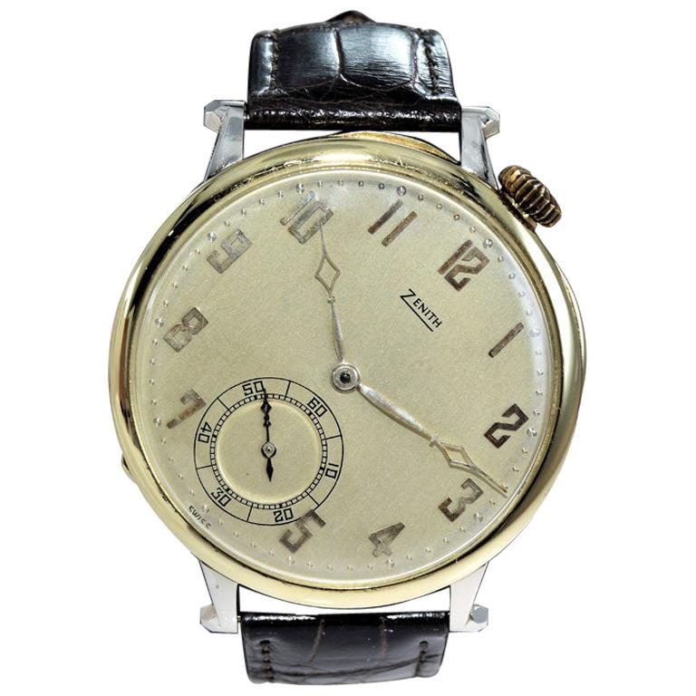 Zenith Yellow and White Gold Oversized Pocket Wristwatch, circa 1920s