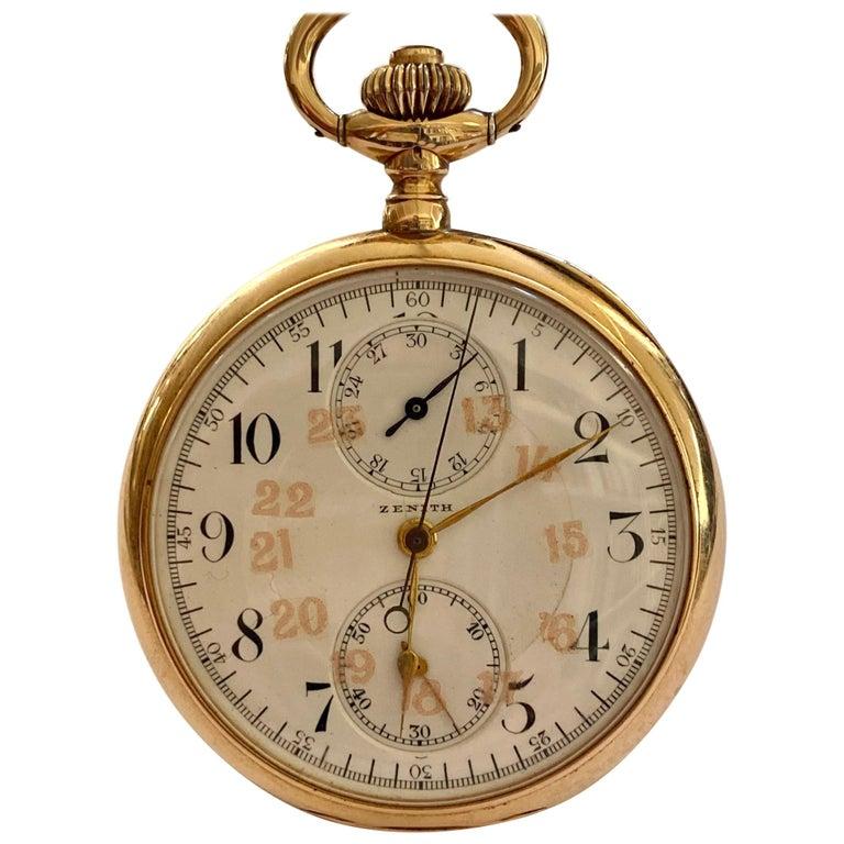 Zenith Zakhorloge in 14 Karat Geelgoud, Chronograaf Complicatie, circa 1930 For Sale
