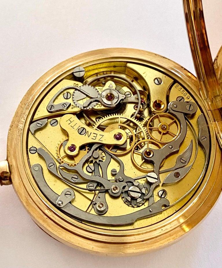 Zenith Zakhorloge in 14 Karat Geelgoud, Chronograaf Complicatie, circa 1930 For Sale 1