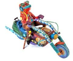 """21"""" La vuelta al mundo Woodcarving Alebrije Sculpture Mexican Folk Art"""