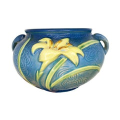 Zephyr Lily Blue Ceramic Jardiniere in Bermuda Blue by Roseville, 1946