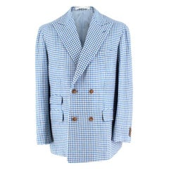 Zerbino Blue & White Gingham Check Blazer XL