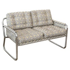 Zermatt Tubular Chrome Sling-Back Settee Upholstered in Gray, Yellow and Black