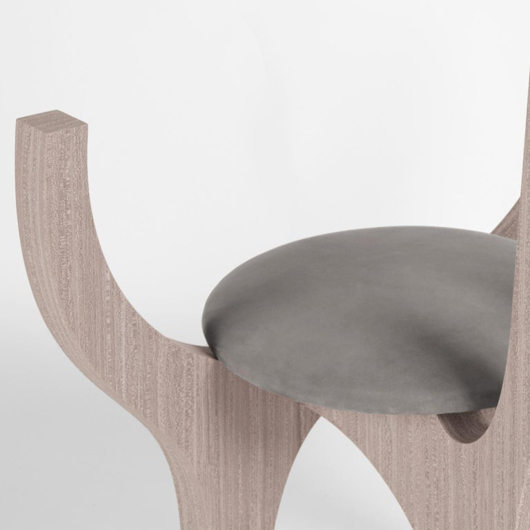 Zero, 21st Century Chair in Wood and Leather For Sale 5