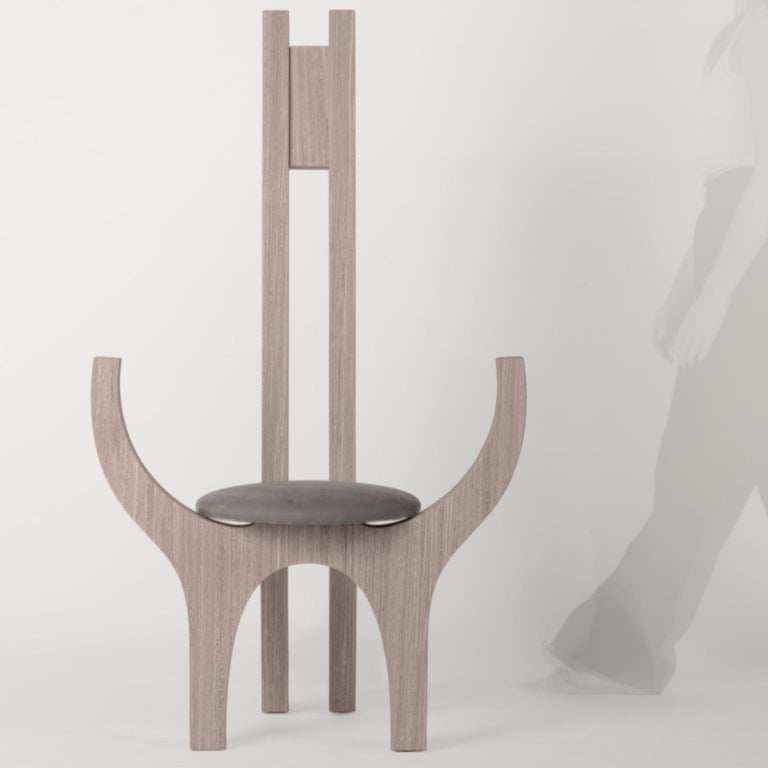 Italian Zero, 21st Century Chair in Wood and Leather For Sale