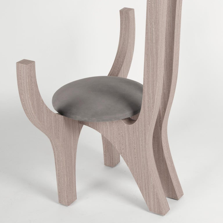 Veneer Zero, 21st Century Chair in Wood and Leather For Sale