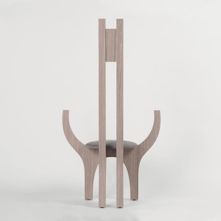 Contemporary Zero, 21st Century Chair in Wood and Leather For Sale