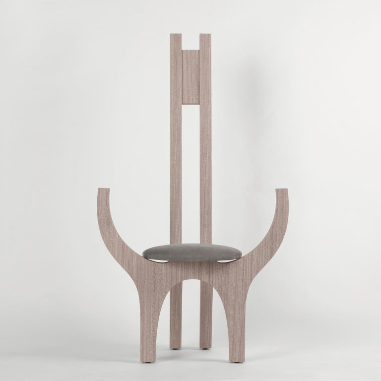 Zero, 21st Century Chair in Wood and Leather For Sale 2