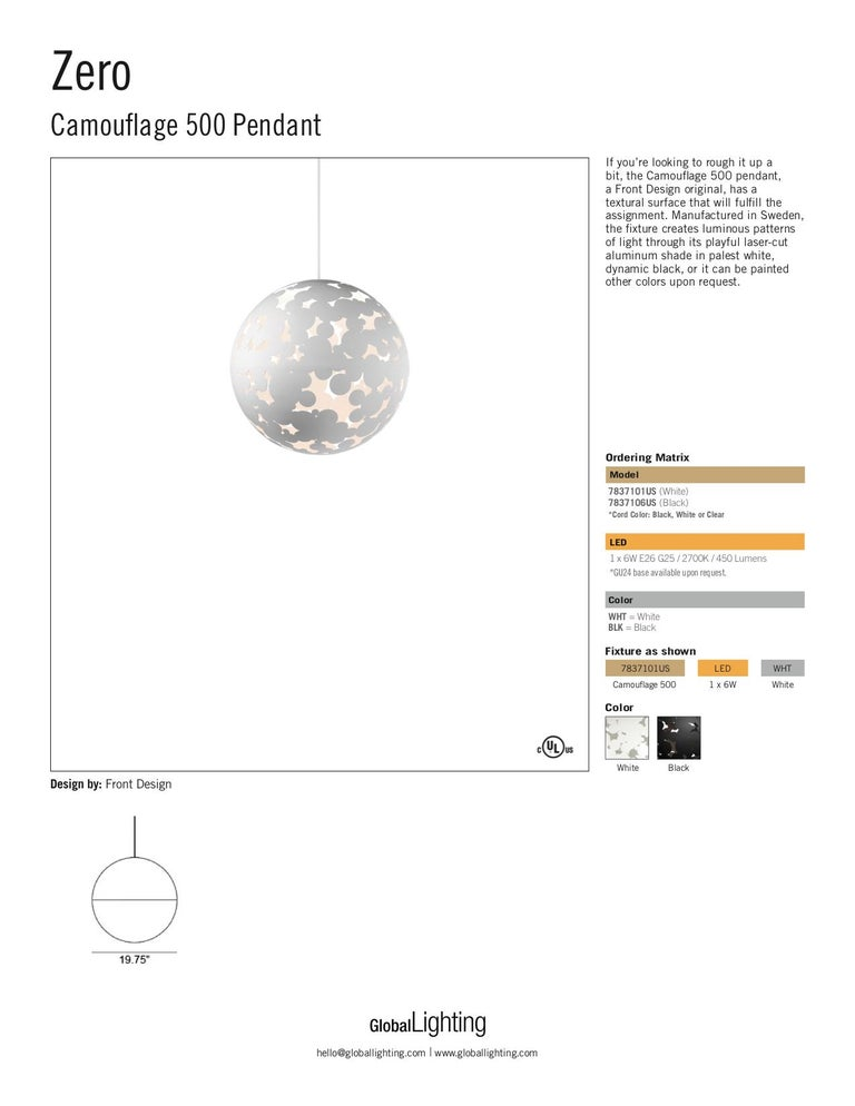 Swedish Zero Camouflage 500 Pendant in Black by Front Design For Sale