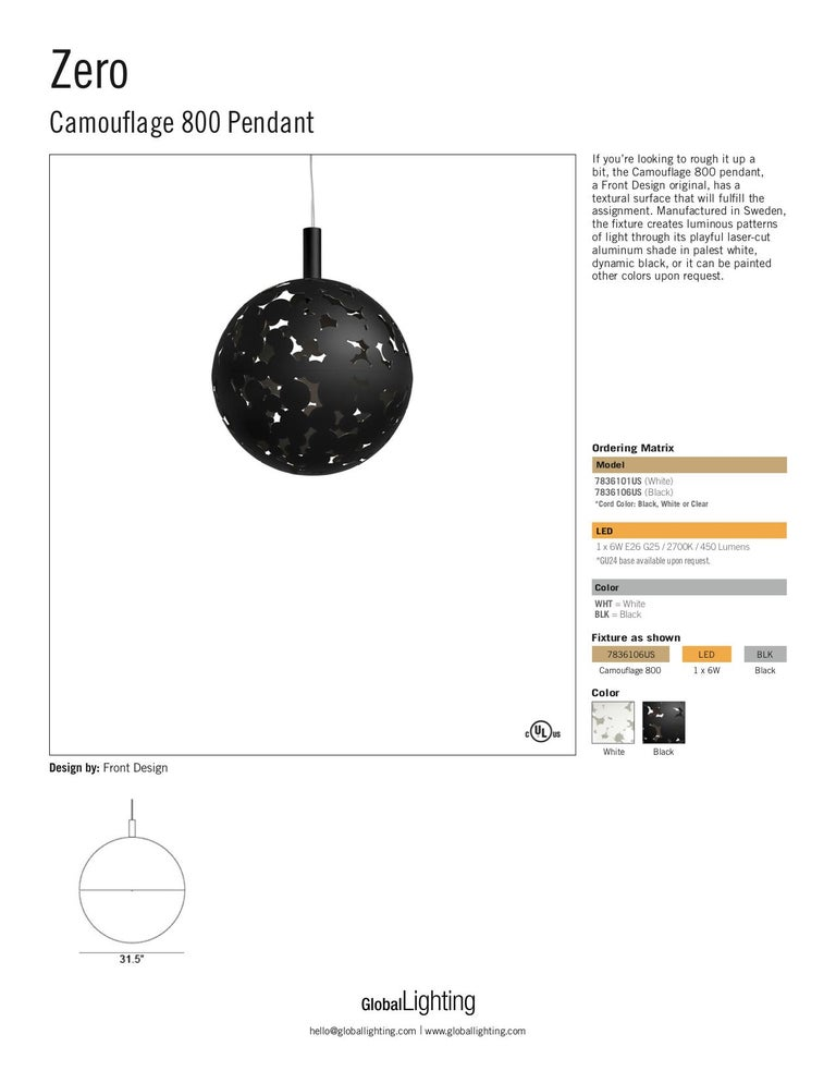 Contemporary Zero Camouflage 800 Pendant in Black by Front Design For Sale
