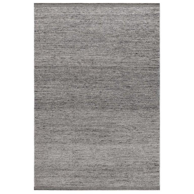 Zero Gray Mix Handwoven Wool Rug For Sale