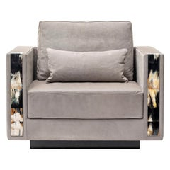 Zeus Armchair Upholstered in Nabuck Leather with Armrests in Horn, Mod. 6089L